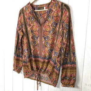CROSBY Boho Paisley Tie Hem Cropped Top Gold M